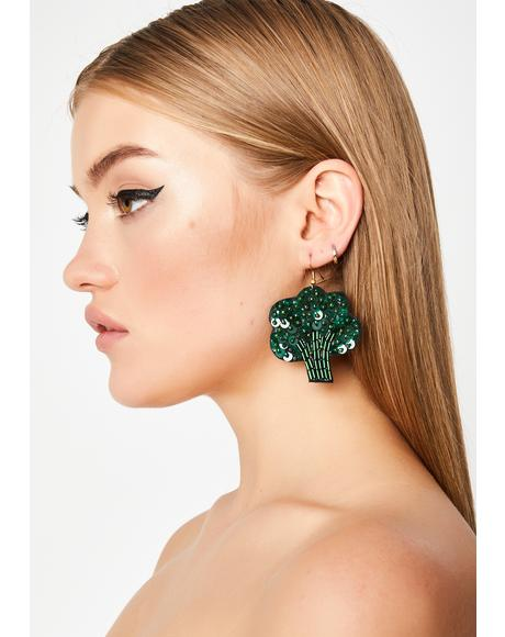 Green Goddess Broccoli Earrings