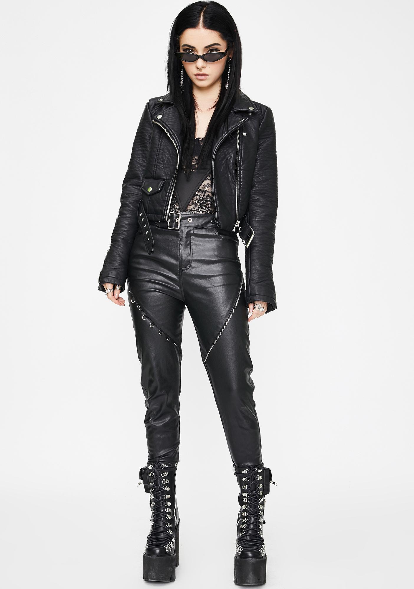 Punk Rave Heavy Industrial Vegan Leather Pants