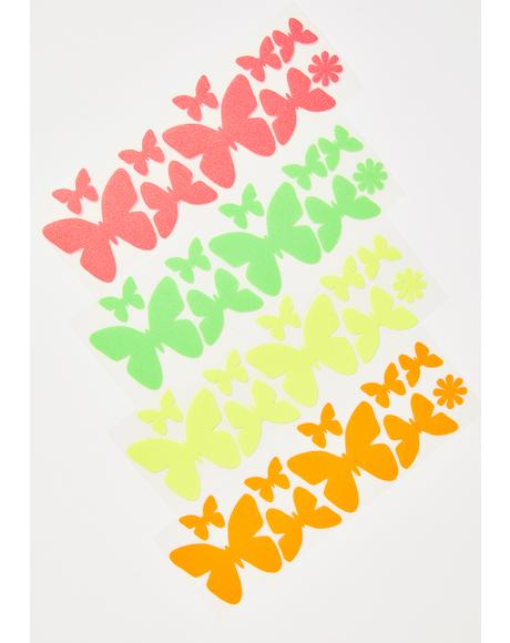 Blacklight Butterflies Body Stickers