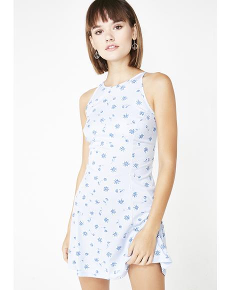 Vintage 00s Daisy Print Mini Dress