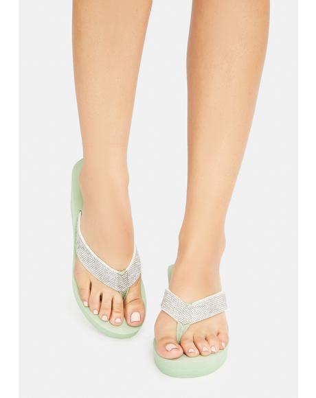 Sage Hello Hello Wedge Thong Sandals