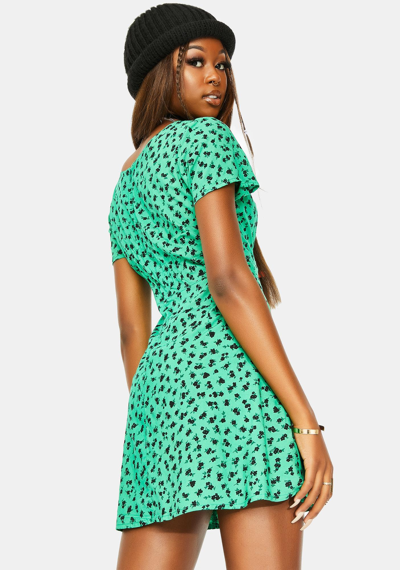 Motel Dainty Ditsy Green Elara Dress