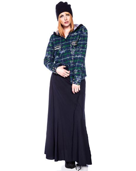 Studded Flannel Bleach Hoodie