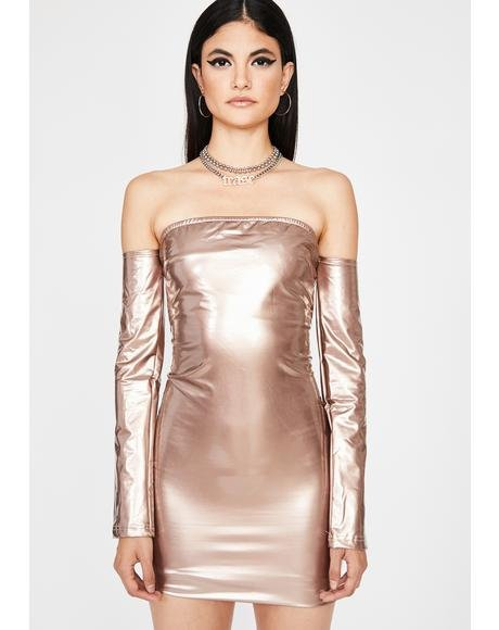 Champagne Haute Thang Vinyl Dress