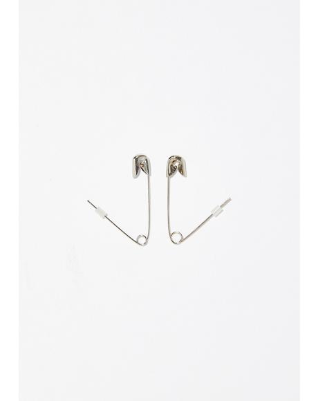 On The Scene Safety Pin Earrings