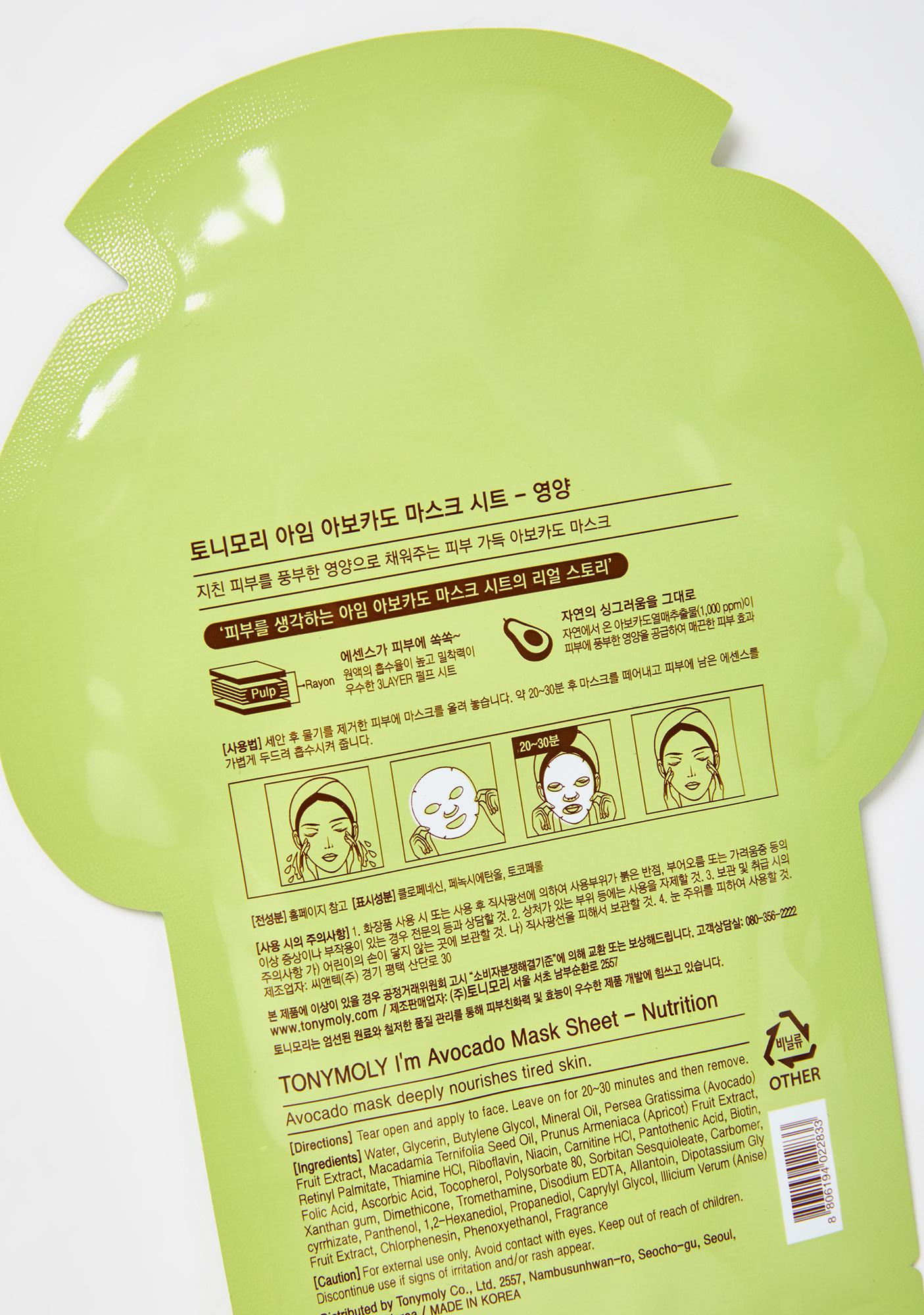 TONYMOLY Avocado I'm Real Sheet Mask