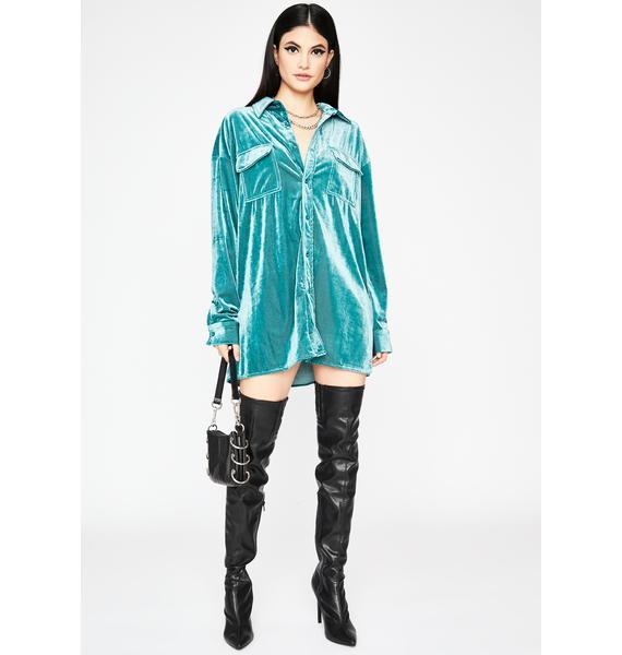 Morning Call Velvet Shirt Dress