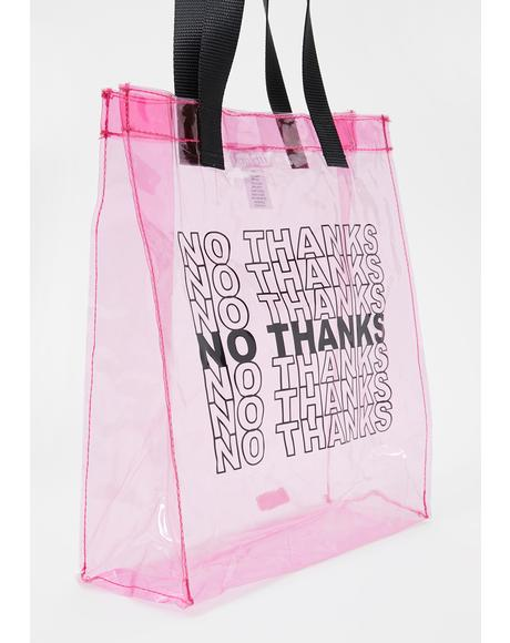 No Thanks Clear Tote Bag