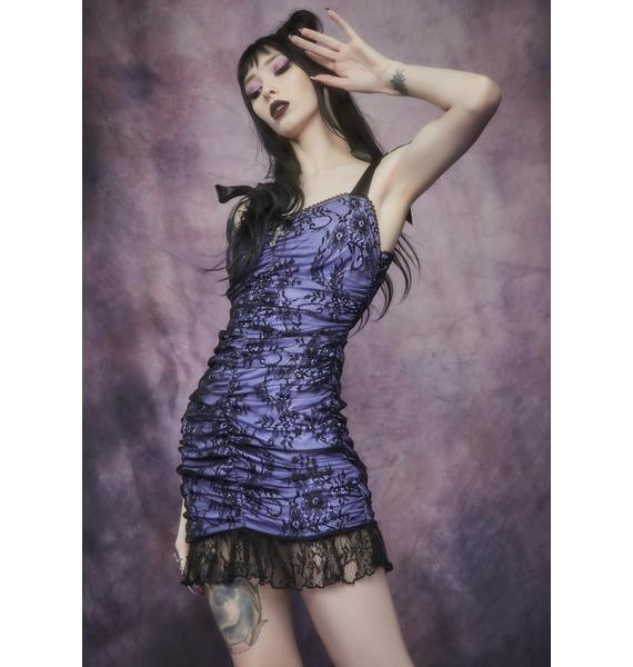 Widow Unholy Night Ruched Lace Mini Dress