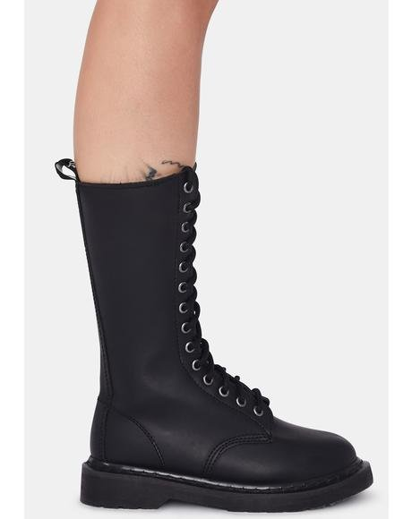 Matte Black Total Mayhem Combat Boots