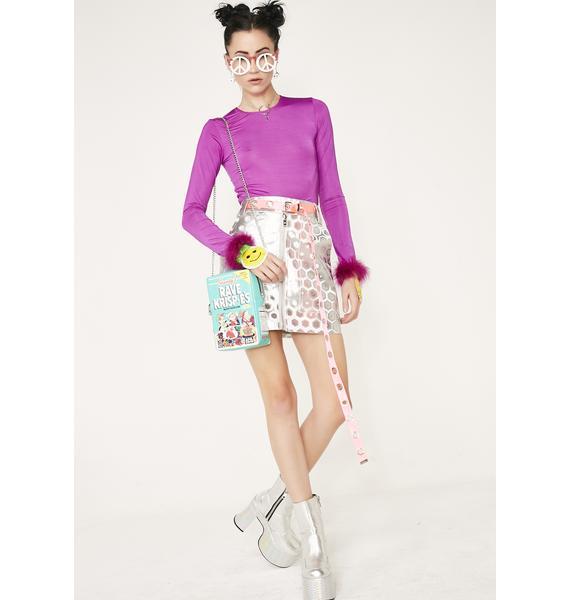 Current Mood Chrome Trippy Vision Mini Skirt