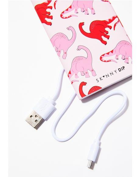 Pink Dino Portable Charger