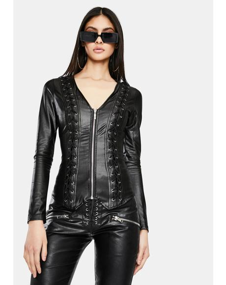 Noir Hardcore Lovin' Lace Up Jacket