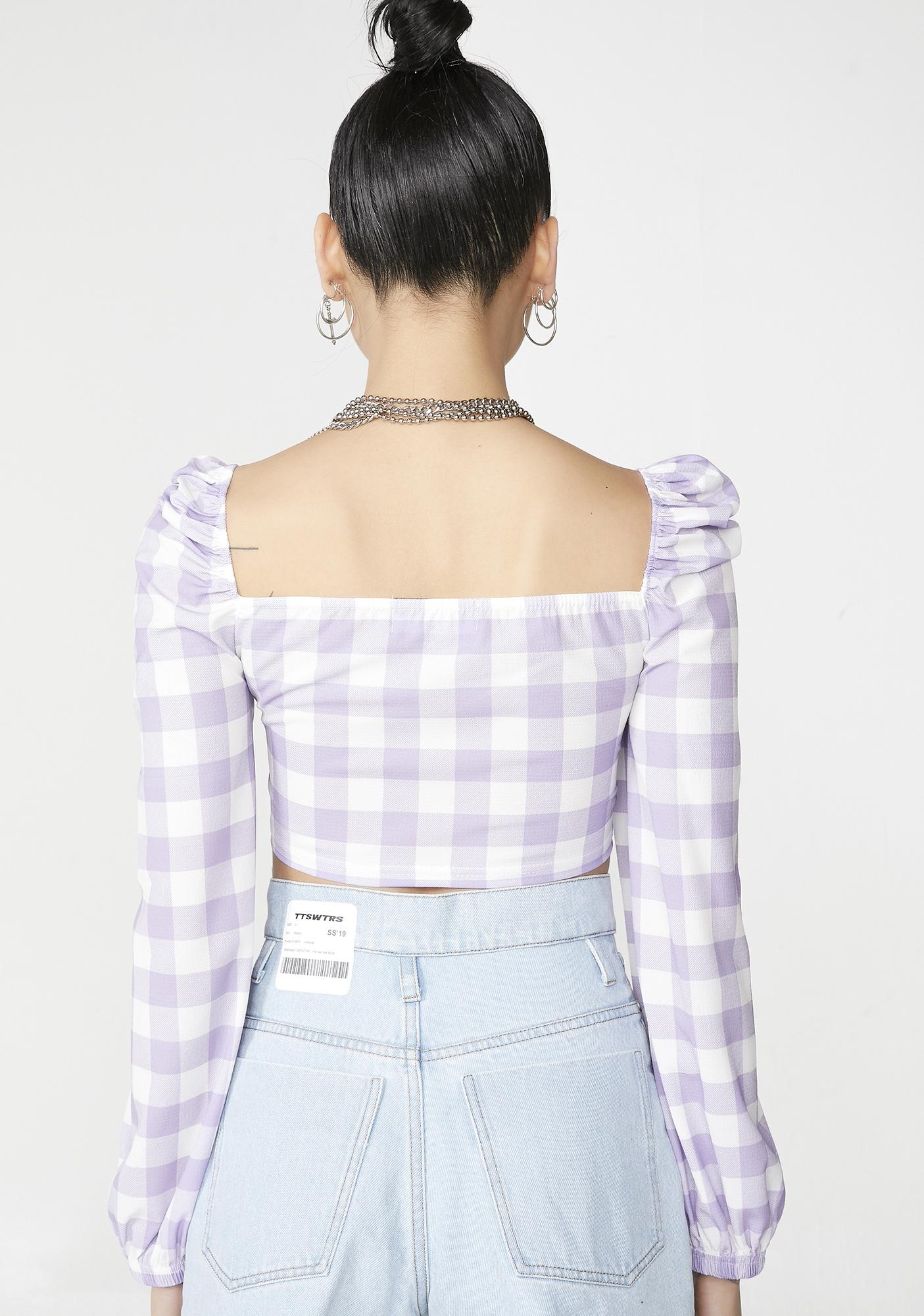 NEW GIRL ORDER Gingham Long Sleeve Crop Top