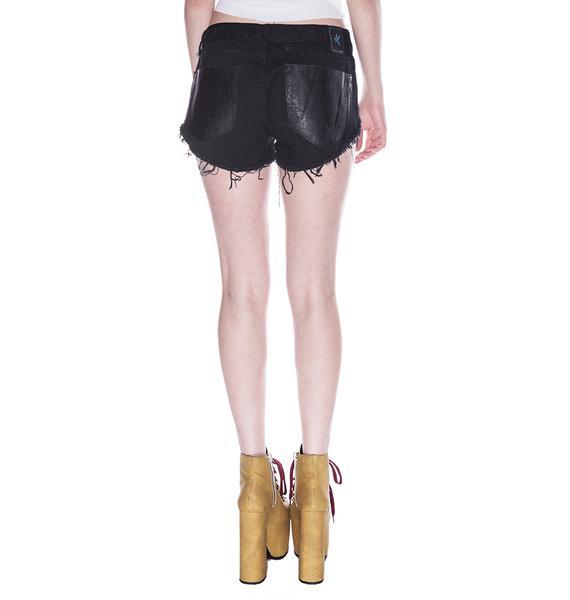 One Teaspoon Leather Paneled Bonitas Shorts