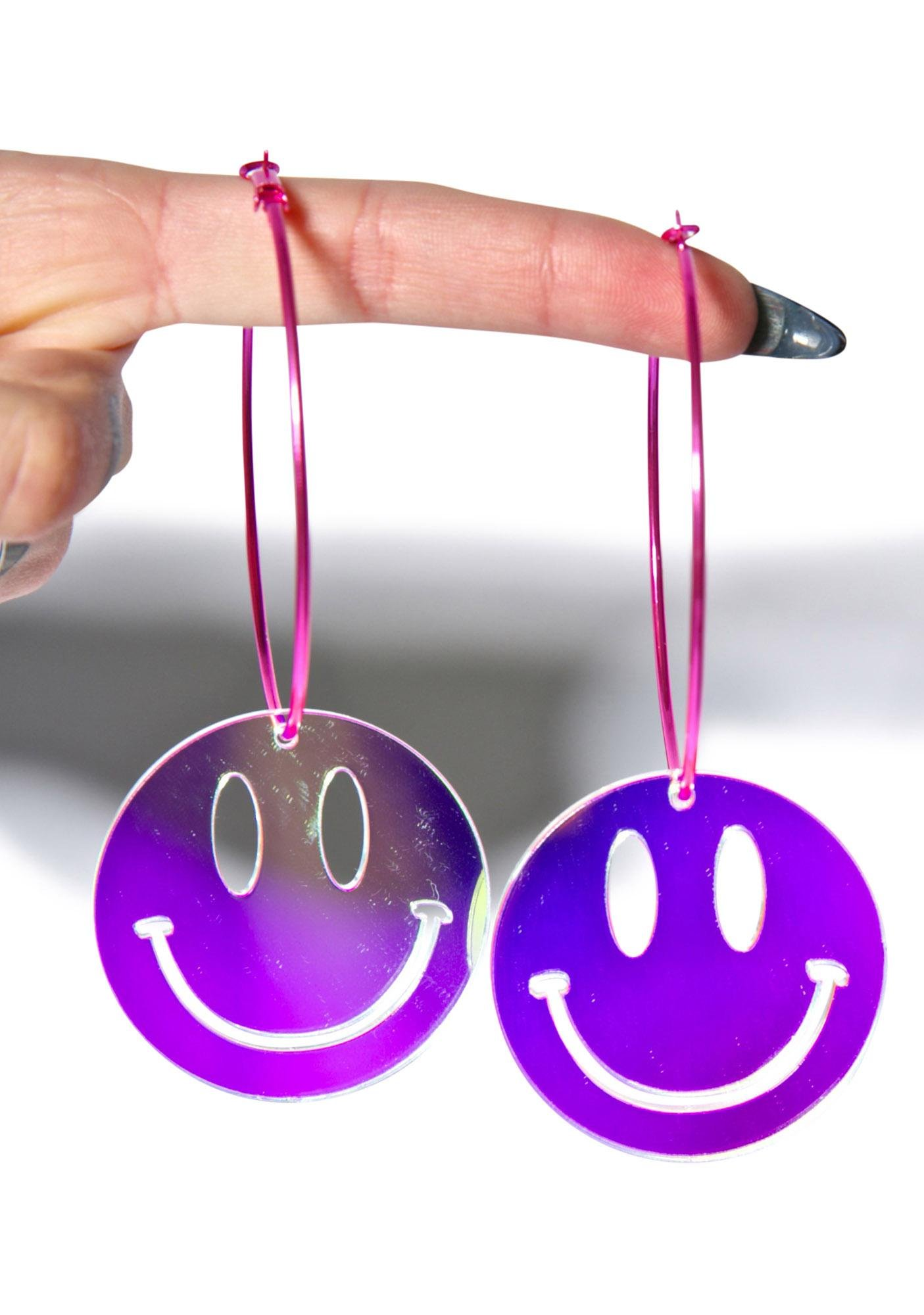 Suzywan Deluxe Smiley Face Hoop Earrings
