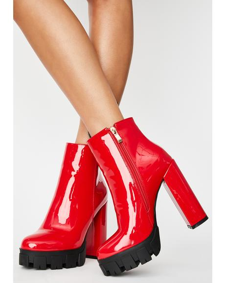 Red Patent Quake Heeled Boots
