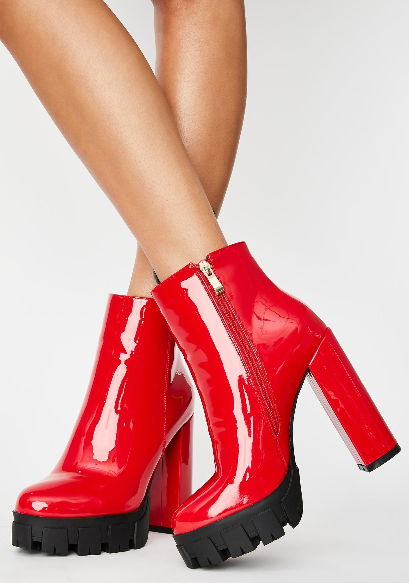 AZALEA WANG Red Patent Quake Heeled Boots
