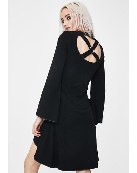 Gothic Cross Back Long Sleeve Dress