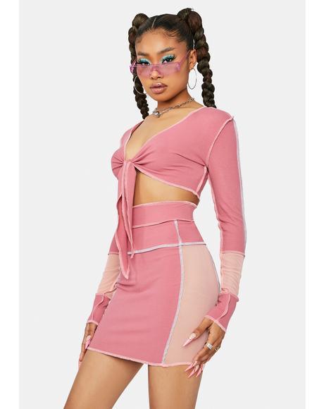 Flirty True Feelings Colorblock Skirt Set