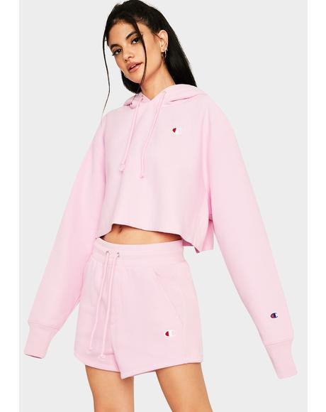 Pink Reverse Weave Cropped Hoodie