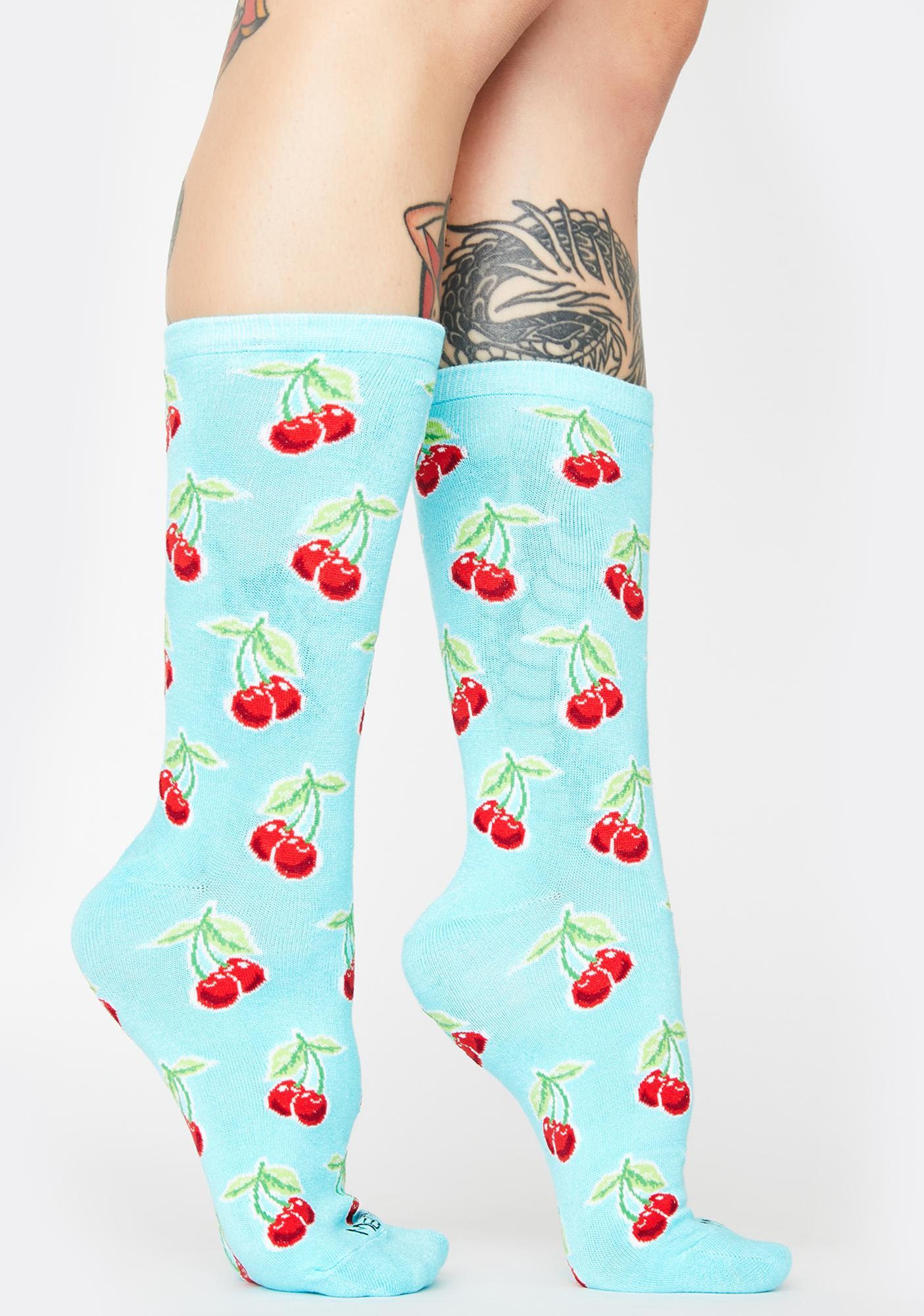 MeMoi Cherry Print Crew Socks