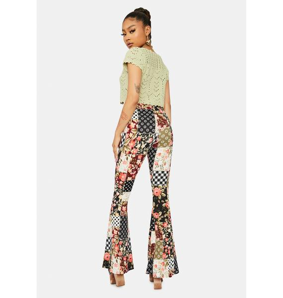 Living For Tomorrow Patchwork Flare Pants