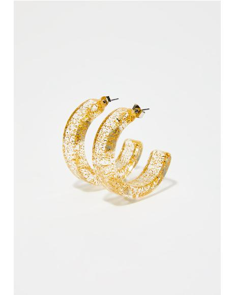 Golden Make You Jelly Hoop Earrings