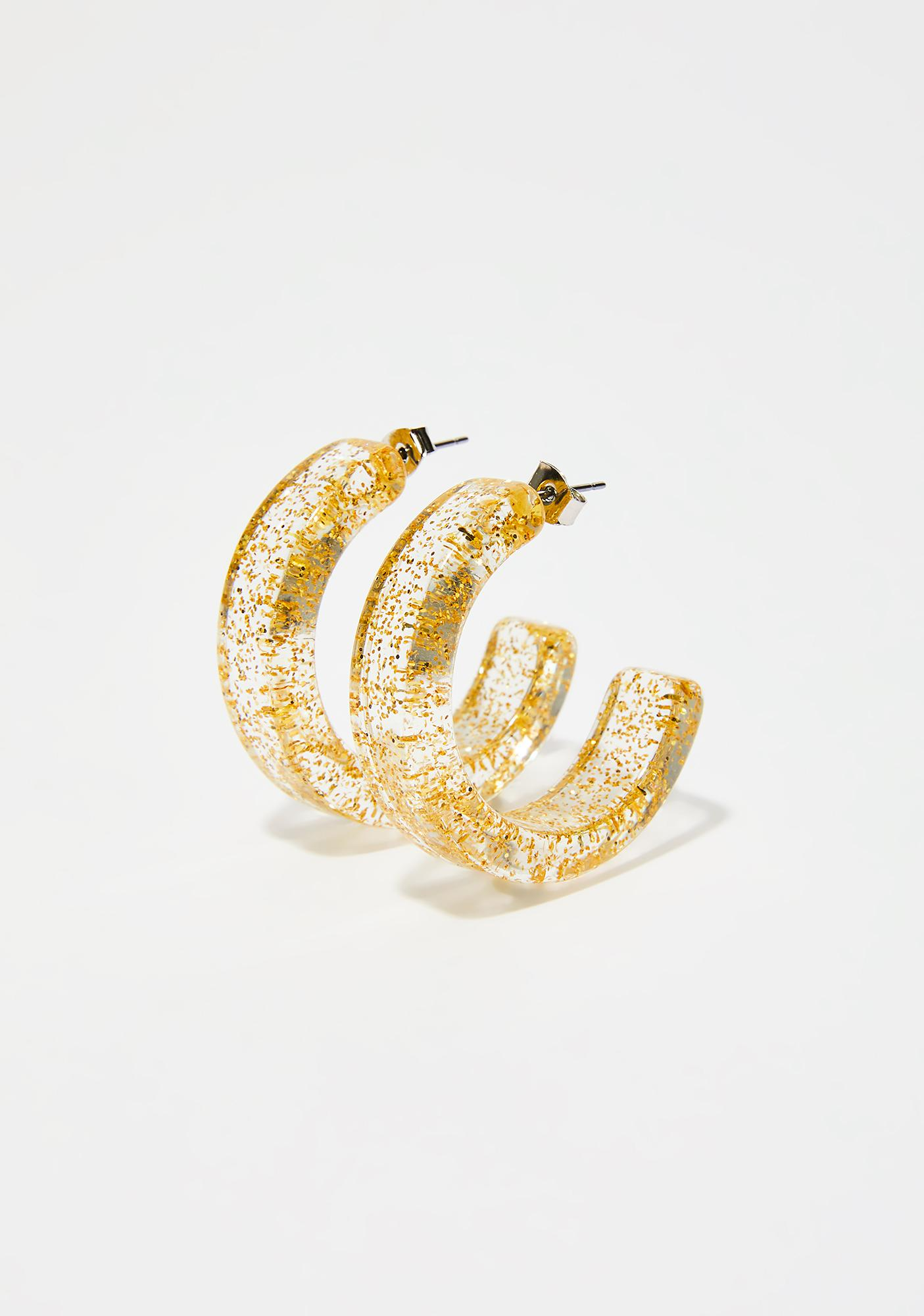 Golden Make You Jelly Hoop Earrings