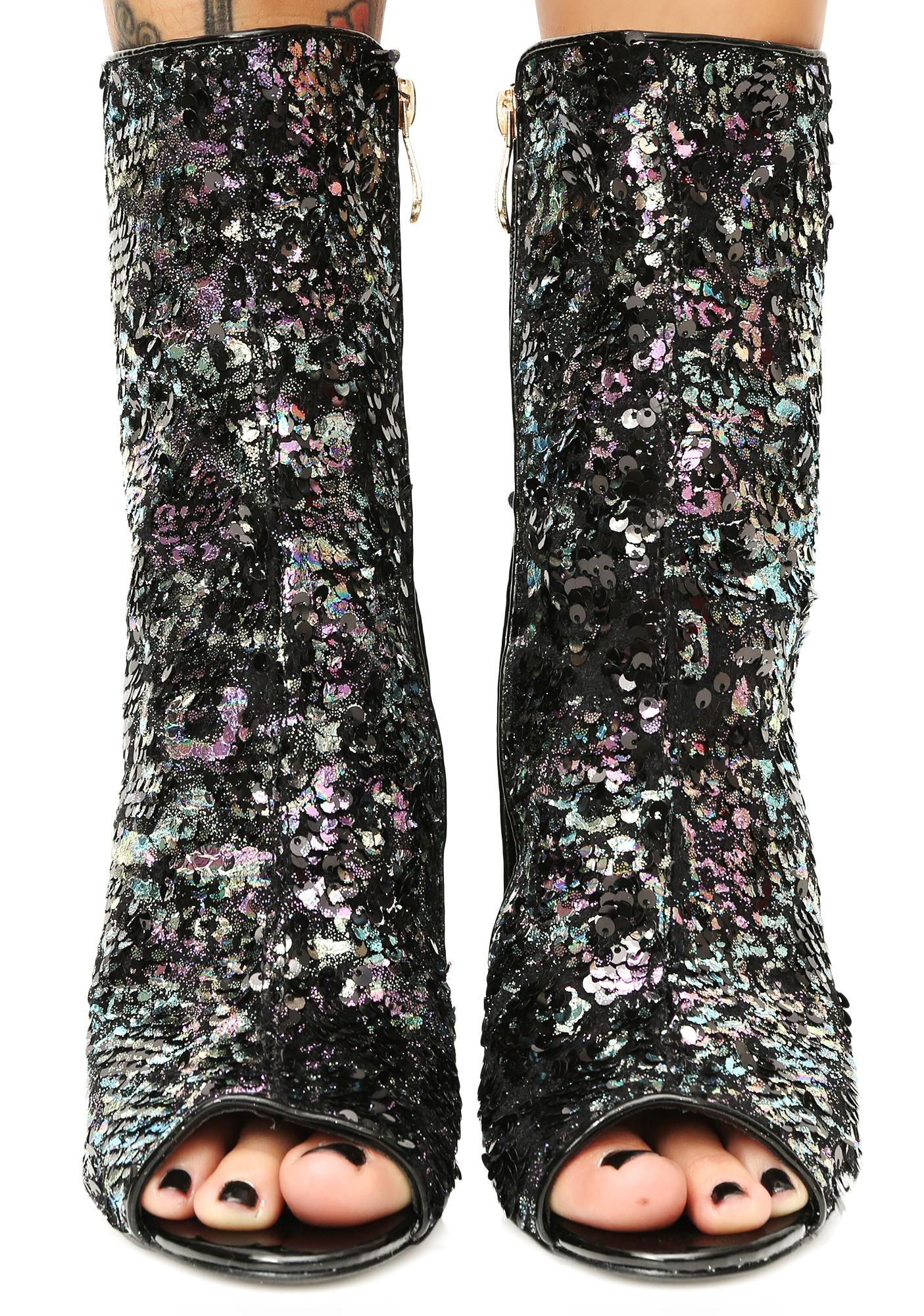 Flash Of Light Sequin Booties