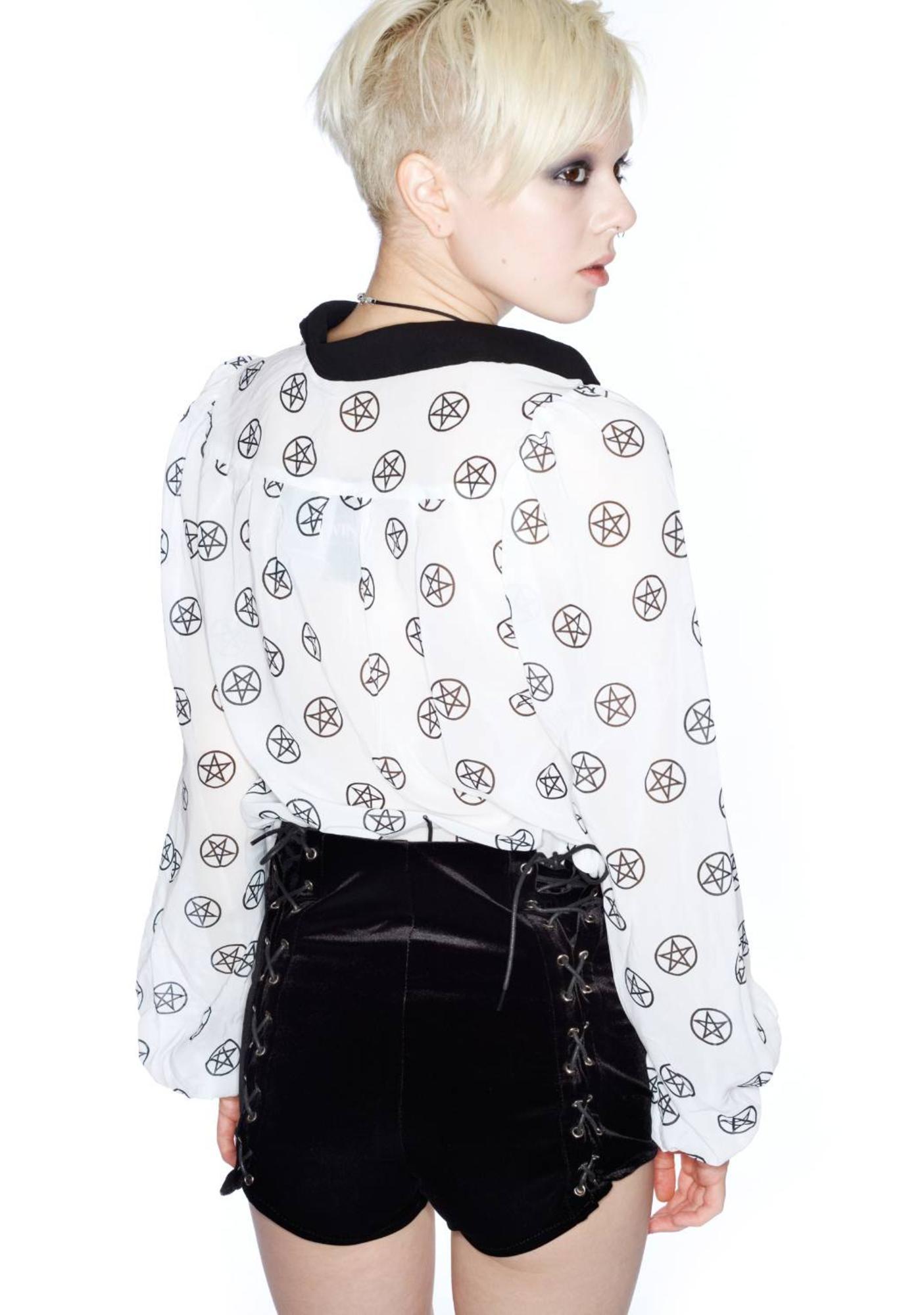 UNIF Black Corset Velvet Shorts