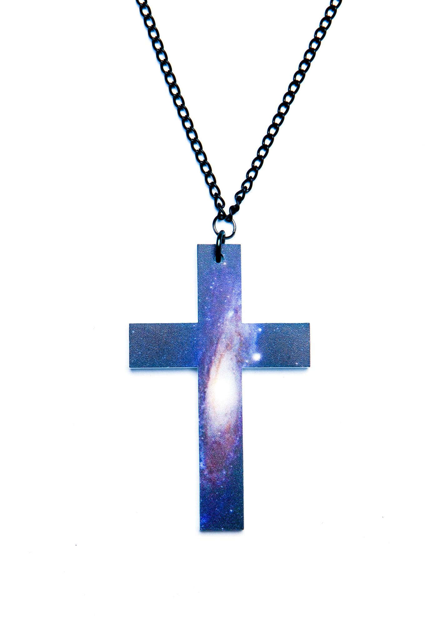 Suzywan Deluxe Get Outta My Space Cross Necklace