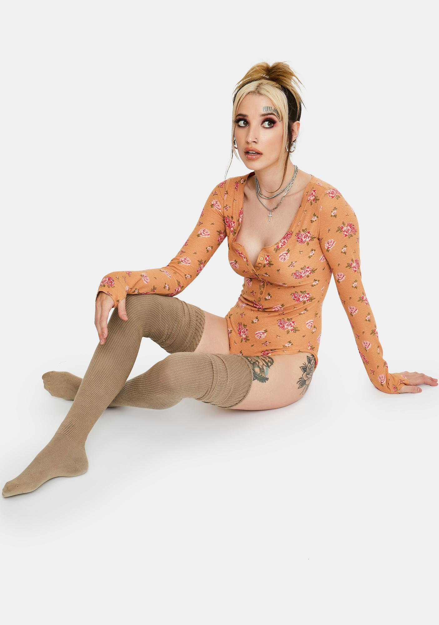 Free People Dylan Thermal Printed Bodysuit