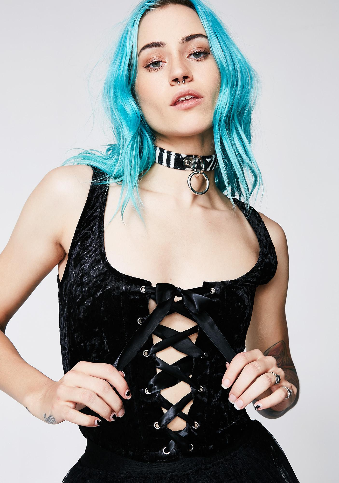 Current Mood Velvet Crushin' Lace-Up Bustier