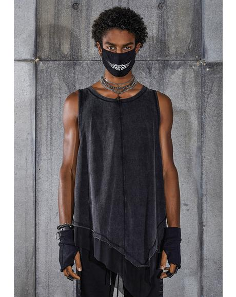 Snare Washed Black Asymmetric Longline Tank