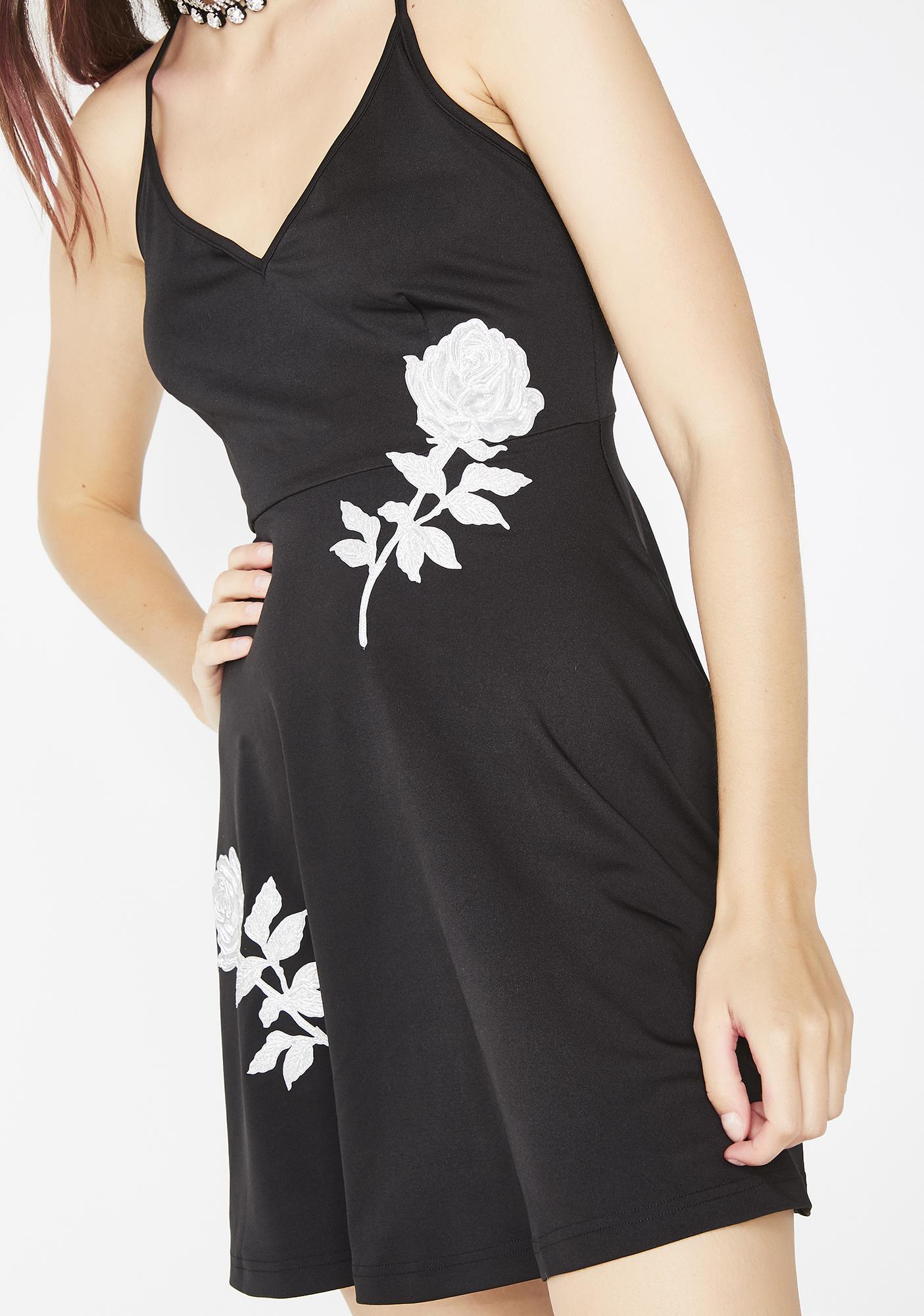No Dress Silver Rose Black Dress