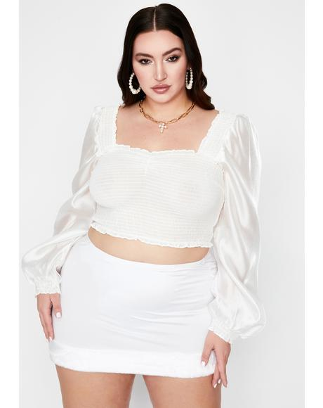 Icy My Lady Love Smocked Crop Top