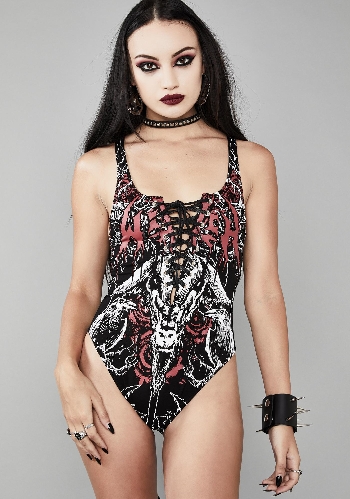 Widow Mark Of The Beast Lace-Up Bodysuit