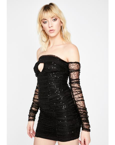 Dark Open Invite Off The Shoulder Dress
