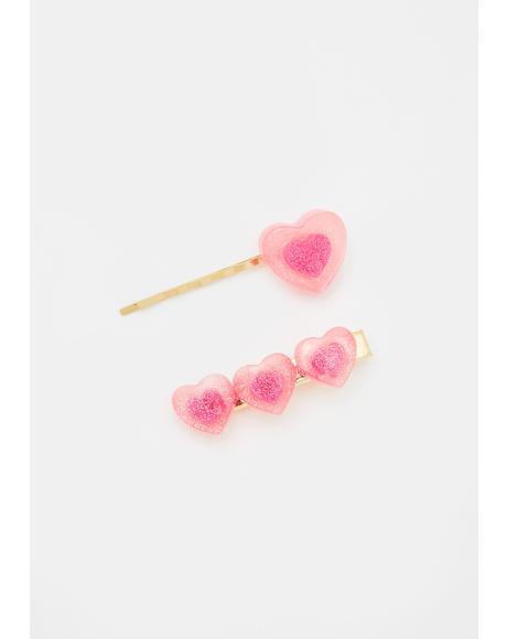 Gimme Candy Heart Hair Clips