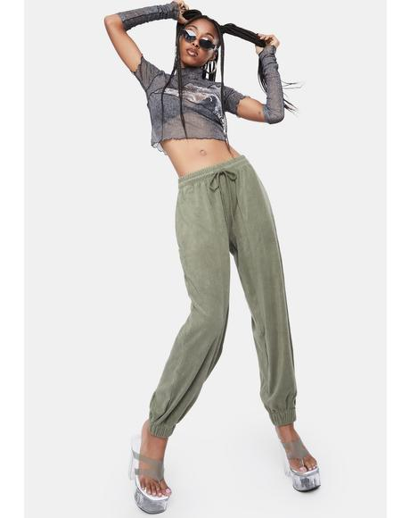 Khaki Loose Fit Jogger Pants