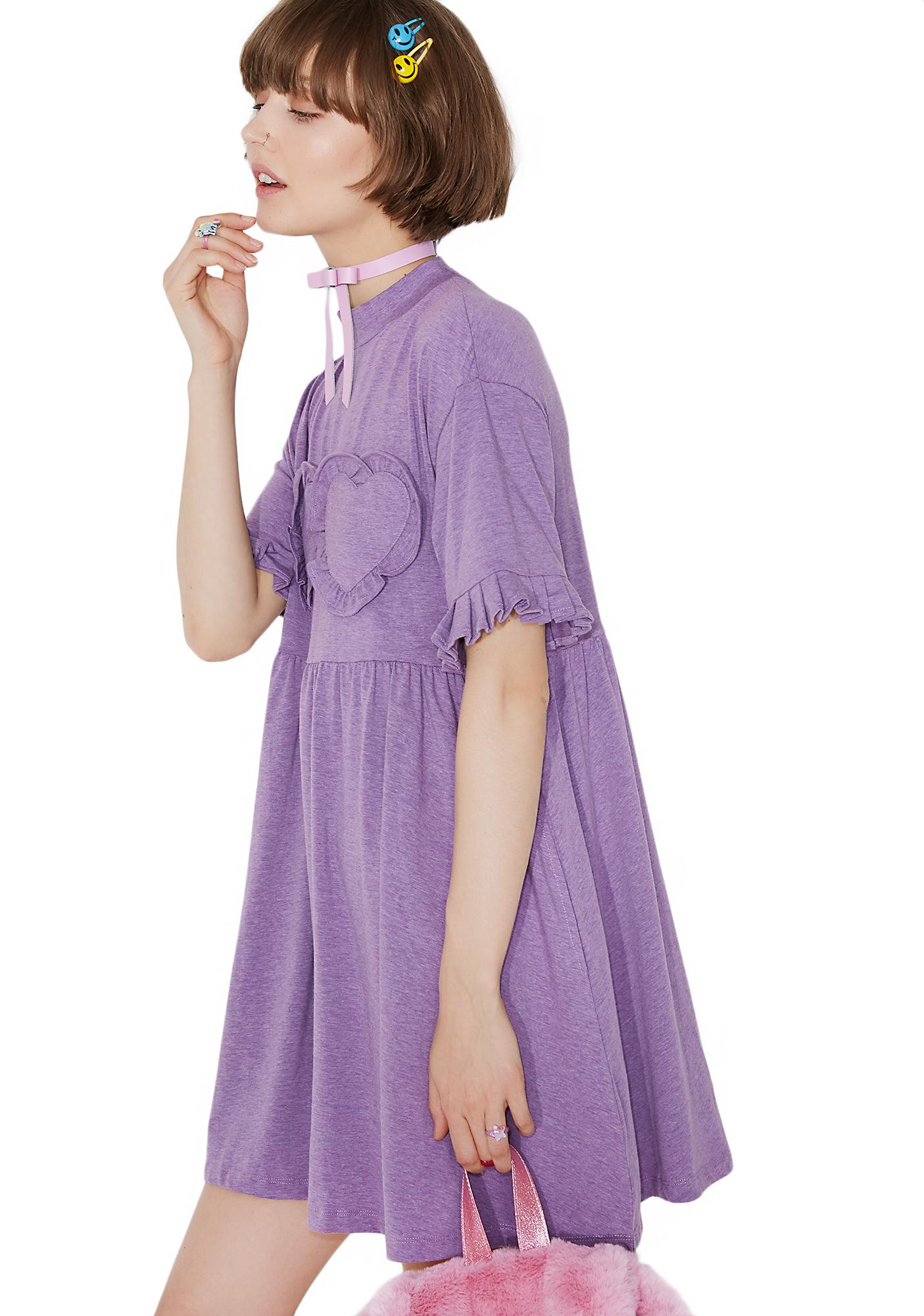 Lazy Oaf Purple Frilly Hearts Dress