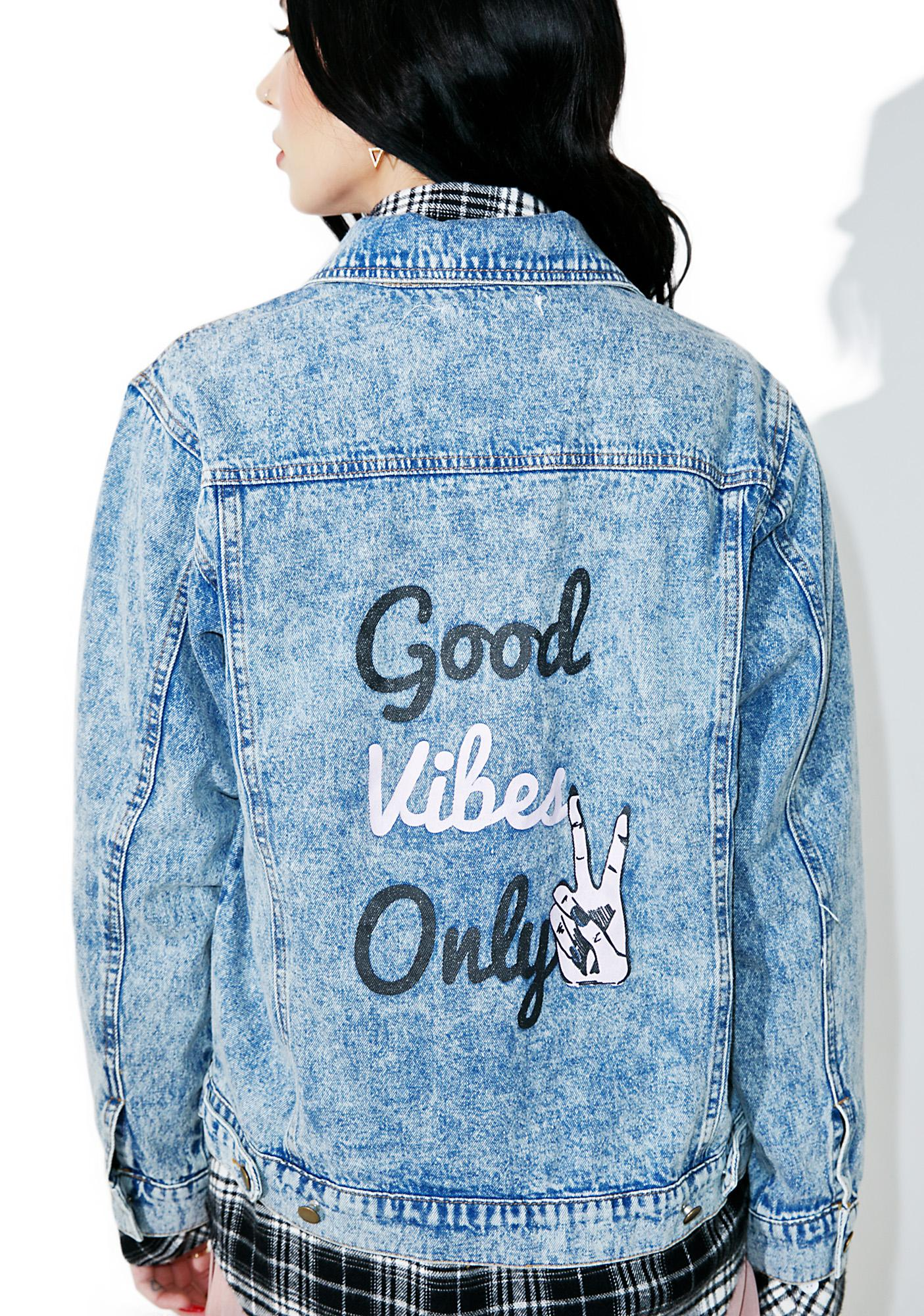 Good Vibes Only Denim Jacket