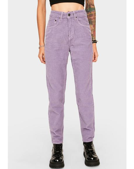 Purple Cord Mom Jeans