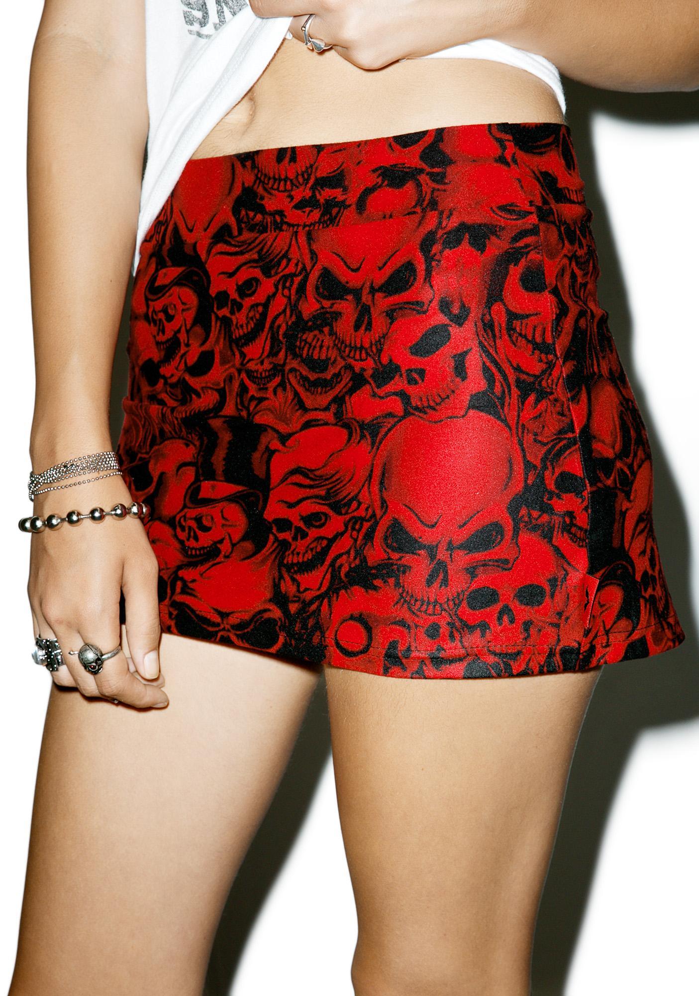 Crimson Skulls Mini Skirt