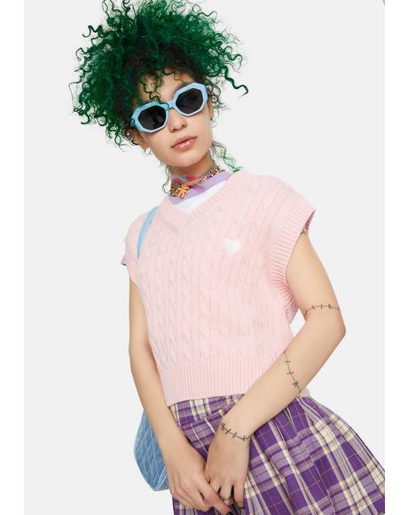 Pink Cable Knit Vest