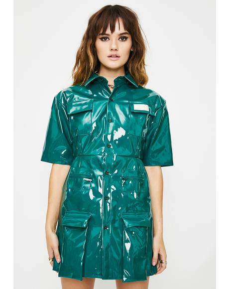 Gloss Shirt Pocket Dress