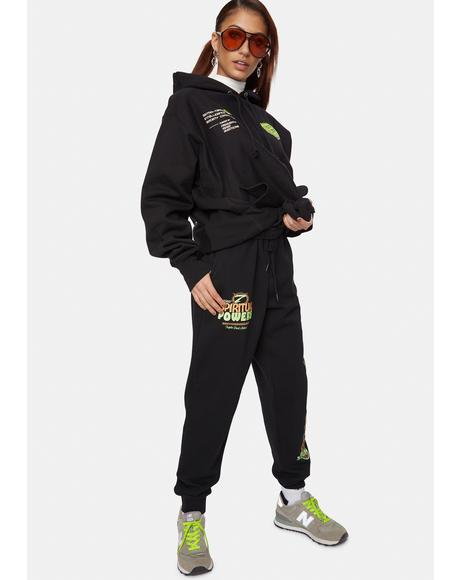 X Playdude Black 7 Powers Sweatpants