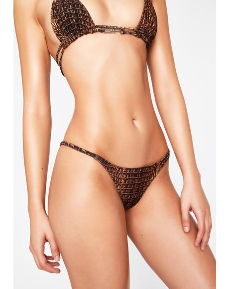 Brown Croc Santos Cheeky Bikini Bottoms