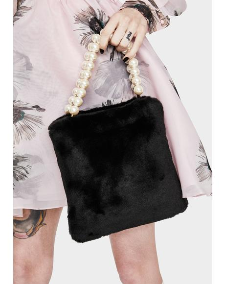 Black Pearl Faux Fur Bag